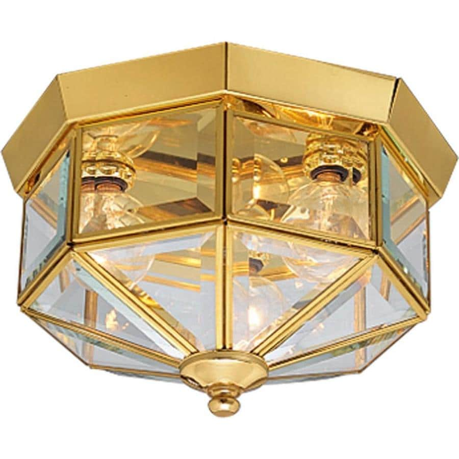 Progress Lighting Beveled Glass 9.75-in W Polished brass Flush Mount Light