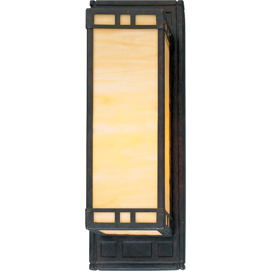 Progress Lighting Arts and Crafts 14.25-in W 1-Light Weathered Bronze Pocket Wall Sconce