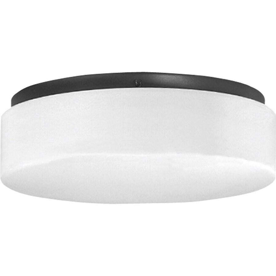 shop progress lighting hard nox 11 in w black outdoor flush mount light at. Black Bedroom Furniture Sets. Home Design Ideas