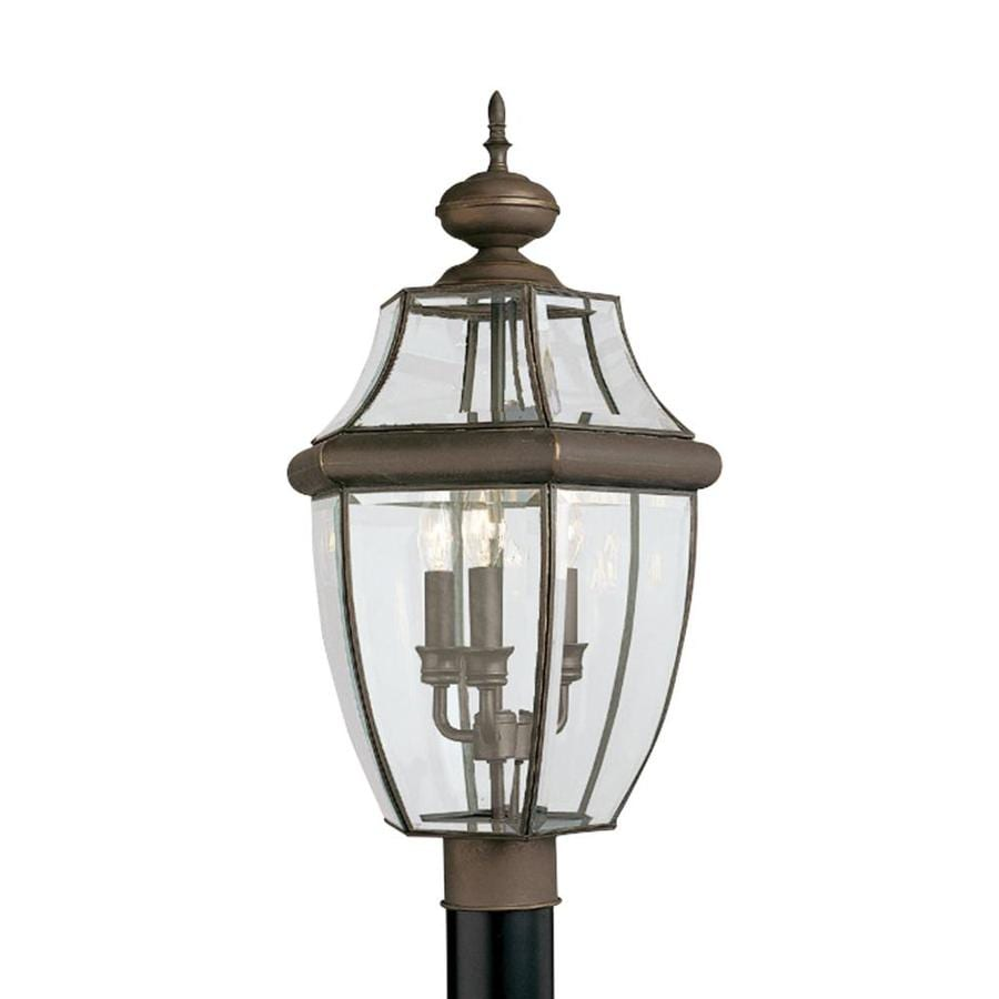 Sea Gull Lighting Lancaster 3 Light Outdoor Antique Bronze Post Light With Dimmable Candelabra Led Bulb In The Complete Post Lights Department At Lowes Com