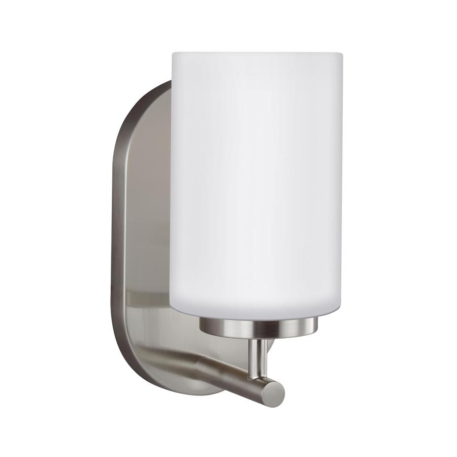 Sea Gull Lighting Oslo 4 75 In W 1 Light Brushed Nickel Modern Contemporary Wall Sconce Energy Star In The Wall Sconces Department At Lowes Com