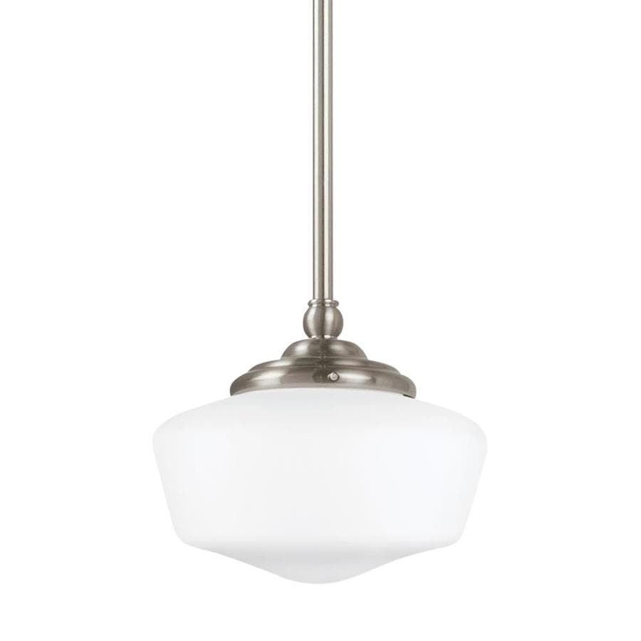 Sea Gull Ligthing 65439-782 Academy One-Light Pendant with White Glass Shade Heirloom Bronze Finish Sea Gull Lighting