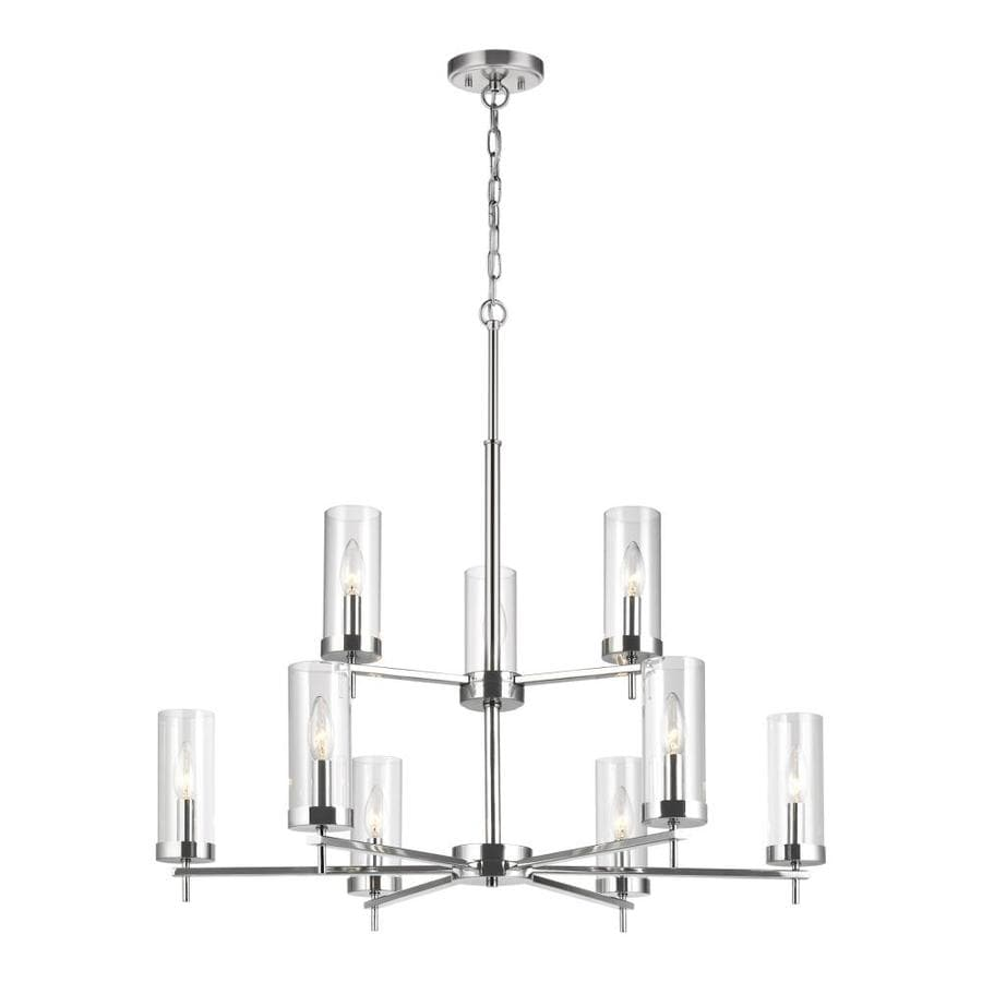 Sea Gull Lighting Zire 9 Light Chrome Chandelier With Clear Glass Shades In The Chandeliers Department At Lowes Com