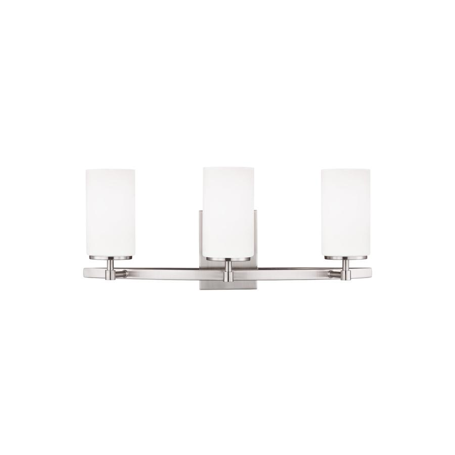 Sea Gull Lighting 44237 962 3 Light Brushed Nickel Bathroom Vanity Wall Fixture: Sea Gull Lighting Alturas 3-Light 22-in Brushed Nickel Cylinder Vanity Light At Lowes.com