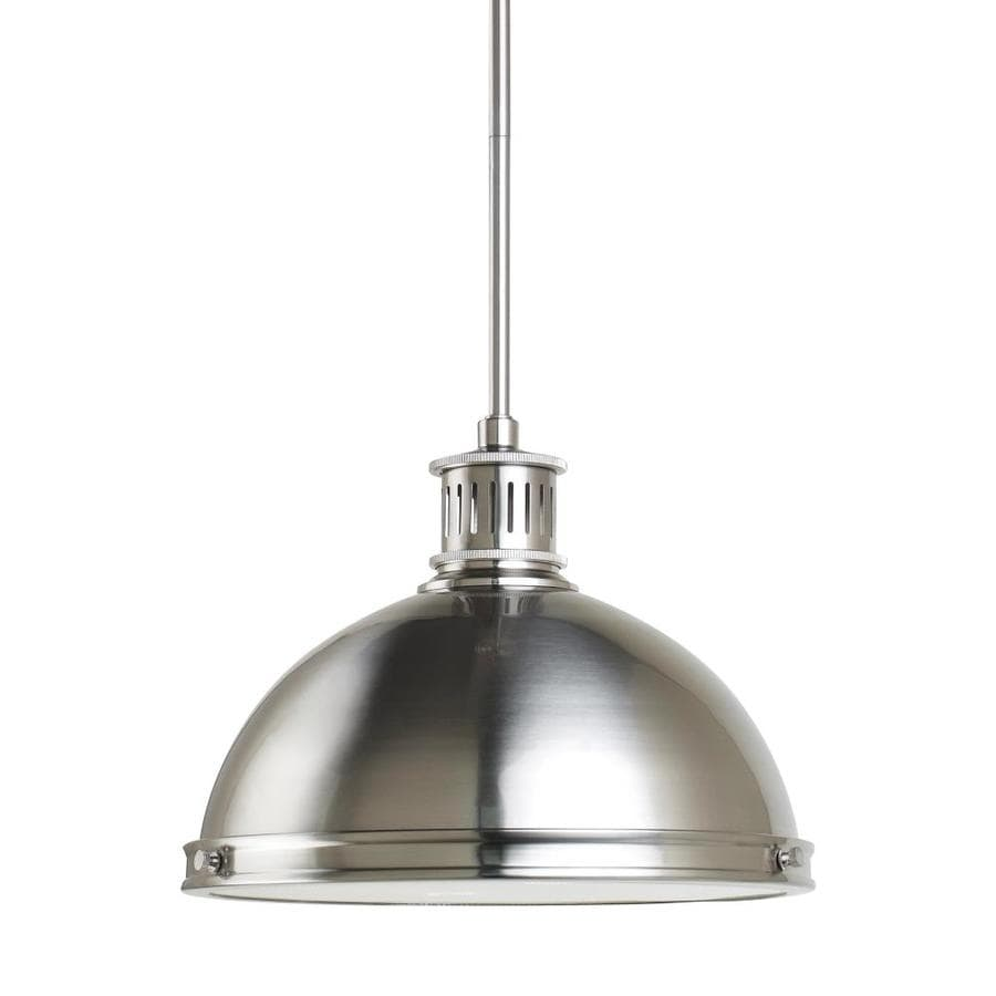 Sea Gull Lighting Pratt Street Metal 13-in Brushed Nickel Mini Ribbed Glass Pendant