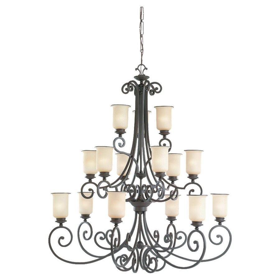 Sea Gull Lighting Acadia 48.5-in 15-Light Misted Bronze Tinted Glass Standard Chandelier