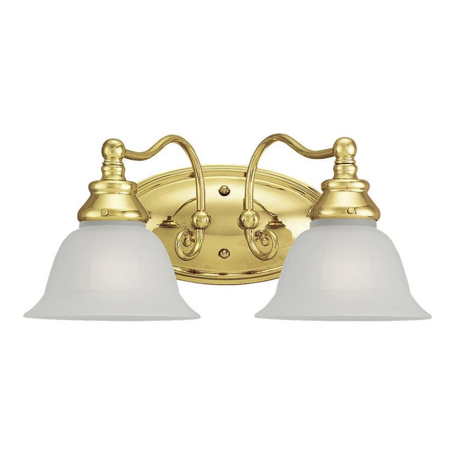 shop sea gull lighting 2 light canterbury polished brass bathroom vanity light at