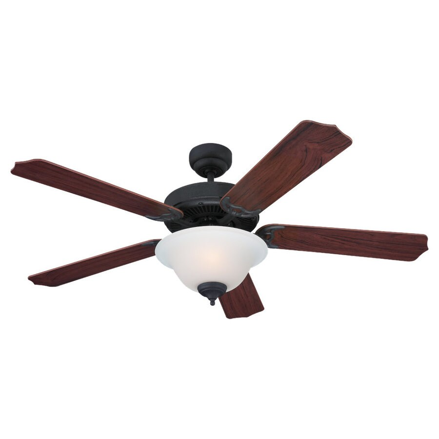 Sea Gull Lighting Quality Max Plus 52-in Weathered Iron Downrod or Flush Mount Ceiling Fan with Light Kit ENERGY STAR