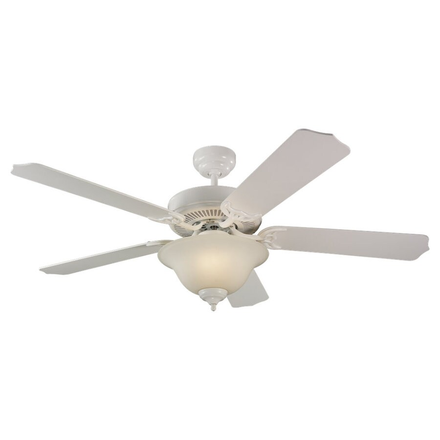 Sea Gull Lighting Quality Max Plus 52-in White Downrod or Flush Mount Ceiling Fan with Light Kit ENERGY STAR