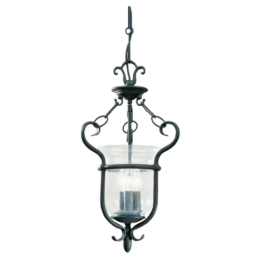 Sea Gull Lighting Manor House 12 In W Weathered Iron Clear Gl Semi Flush