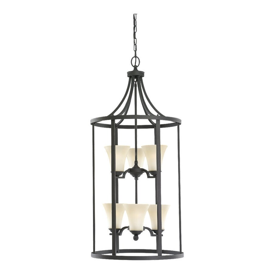 Sea Gull Lighting Somerton 19-in Blacksmith Single Tinted Glass Pendant