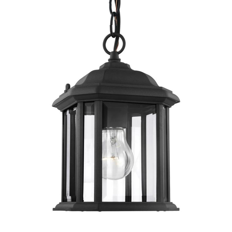 Sea Gull Lighting 10-in H Black Outdoor Pendant Light
