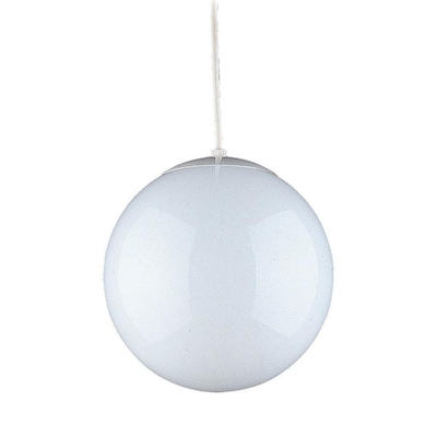 Leo White Single Mid Century Opal Gl Globe Pendant Light