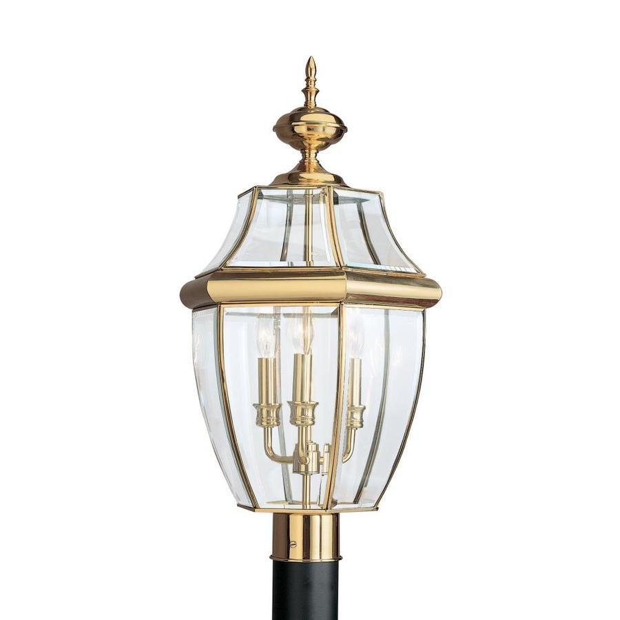 Sea Gull Lighting 3-Light Lancaster Brass Post Lantern