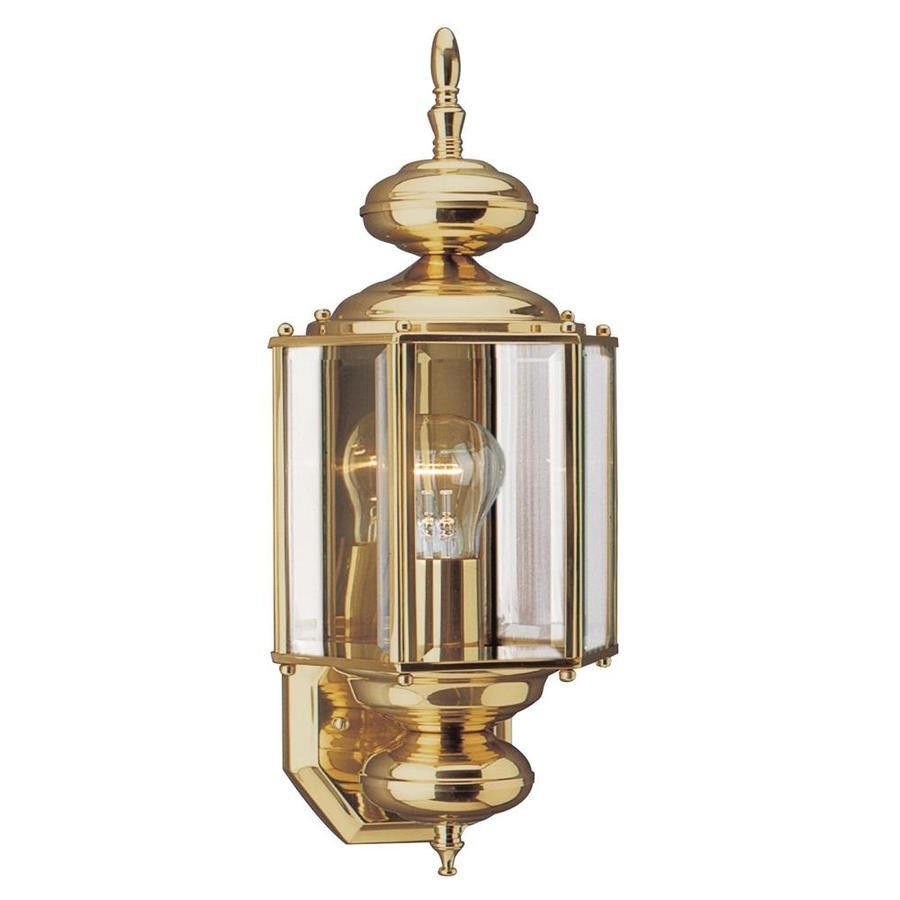 Shop sea gull lighting 255 in h polished brass outdoor wall light sea gull lighting 255 in h polished brass outdoor wall light aloadofball Images