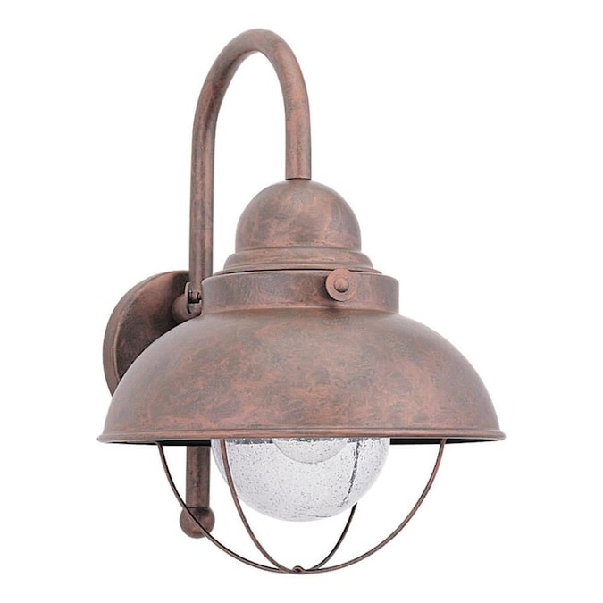 Sea Gull Lighting Sebring 15 75 In H Weathered Copper Medium Base E 26 Outdoor Wall Light In The Outdoor Wall Lights Department At Lowes Com