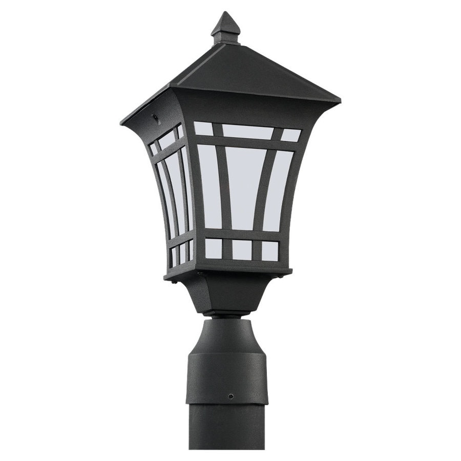 Sea Gull Lighting Herrington 16.31-in H Black Complete Pier-Mounted Light