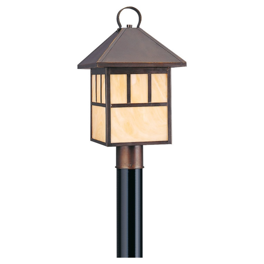 Sea Gull Lighting Prairie Statement 19.25-in H Antique Bronze Complete Pier-Mounted Light