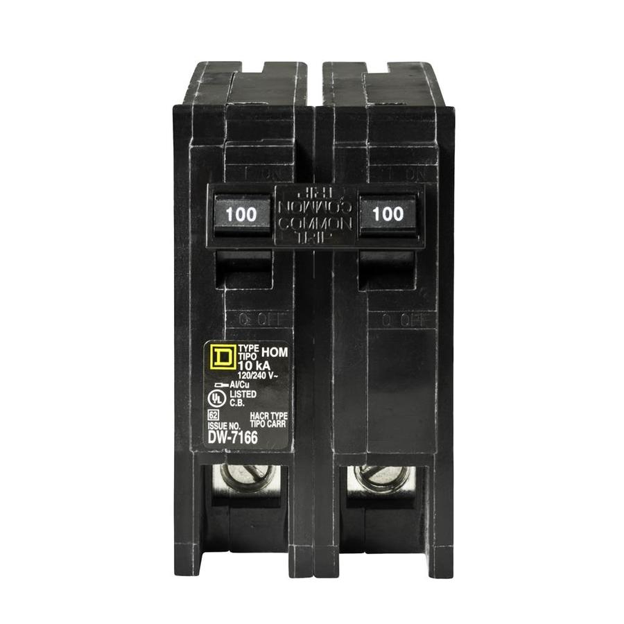 Square D Homeline 100 Amp 2 Pole Standard Trip Circuit Breaker At 15 Amp  Fuse Breaker 80 Amp Breaker Fuse Box