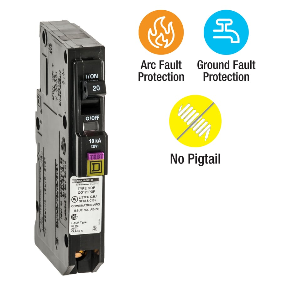Shop Square D Qo 20-Amp 1-Pole Dual Function AFCI/GFCI Circuit ...