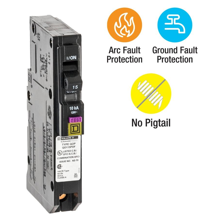 Square D Qo 15-Amp 1-Pole Dual Function AFCI/GFCI Circuit Breaker