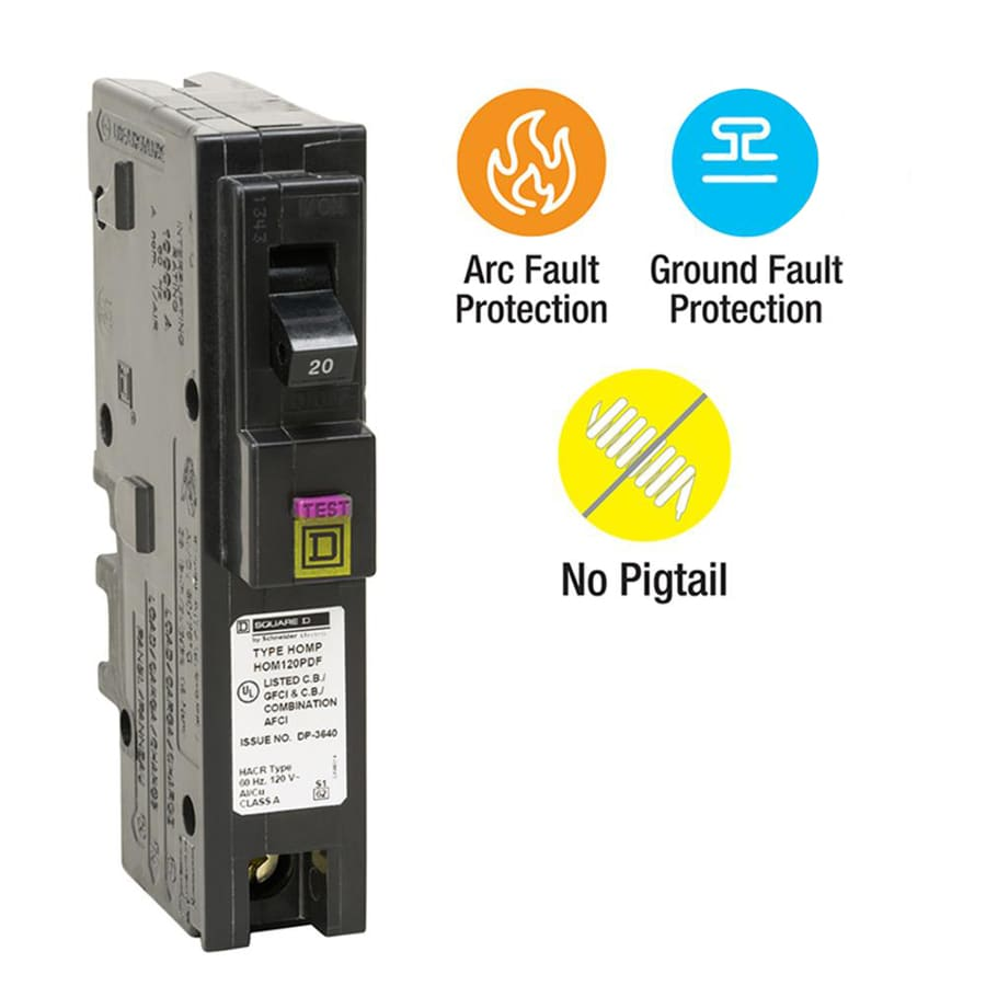shop circuit breakers at lowes com square d homeline 20 amp 1 pole dual function afci gfci circuit breaker