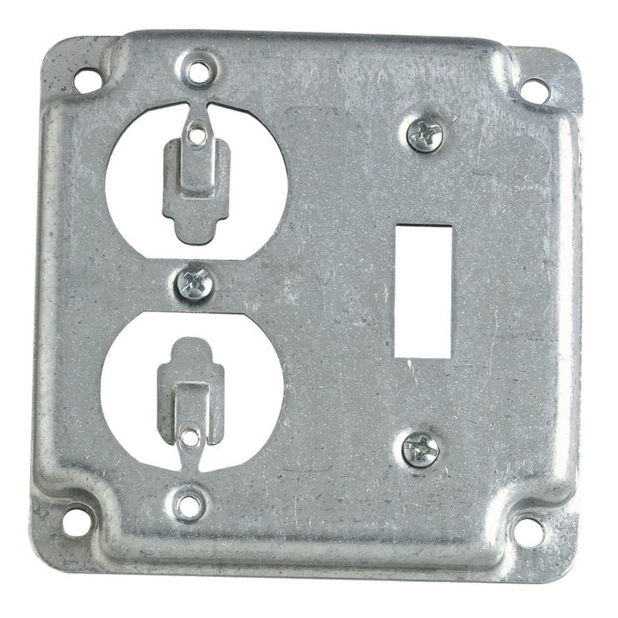 Metal Electrical Outlet Covers Oversized Outlet Covers: STEEL CITY 2-Gang Square Metal Electrical Box Cover At