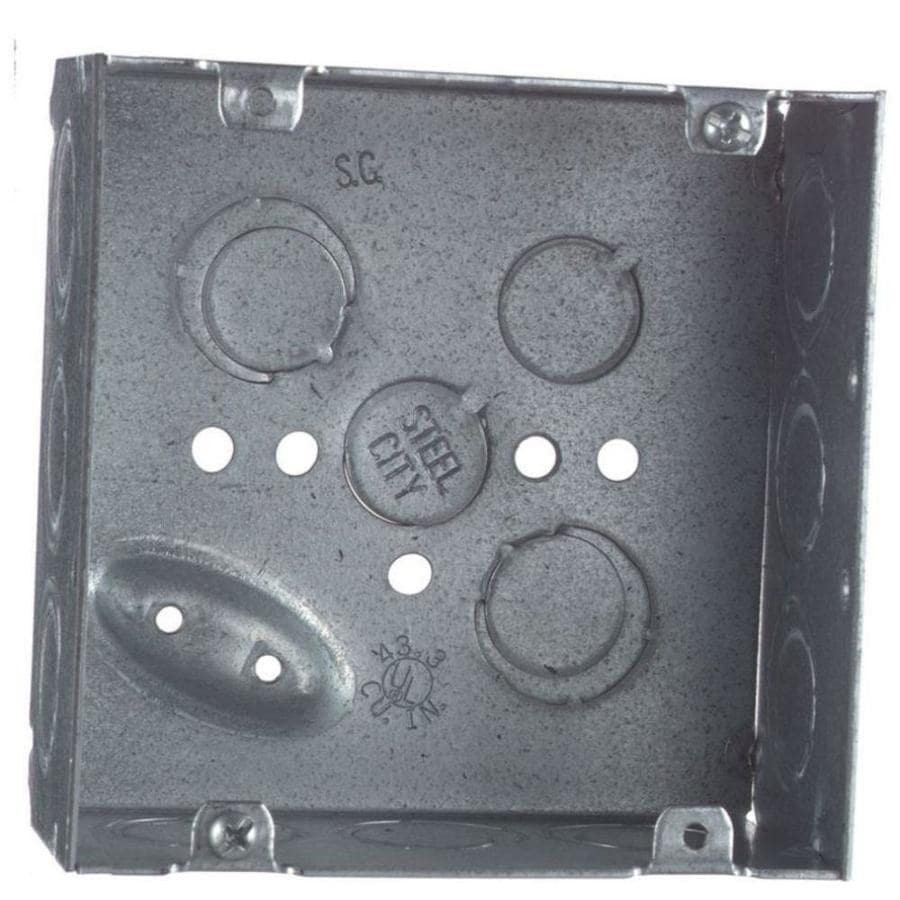 STEEL CITY 42-cu in 2-Gang Metal Square Wall Electrical Box
