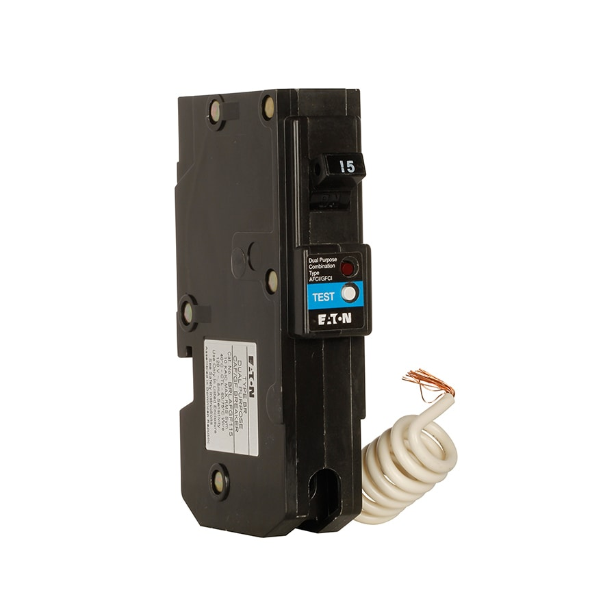 Eaton Type BR 15-Amp 1-Pole Dual Function AFCI/GFCI Circuit Breaker