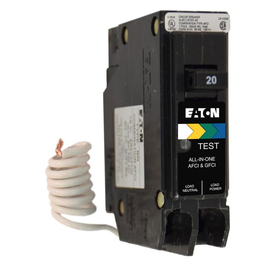 Shop Eaton Type Br 20 Amp 1 Pole Dual Function Afci Gfci Circuit Ground Fault Interrupt Breaker