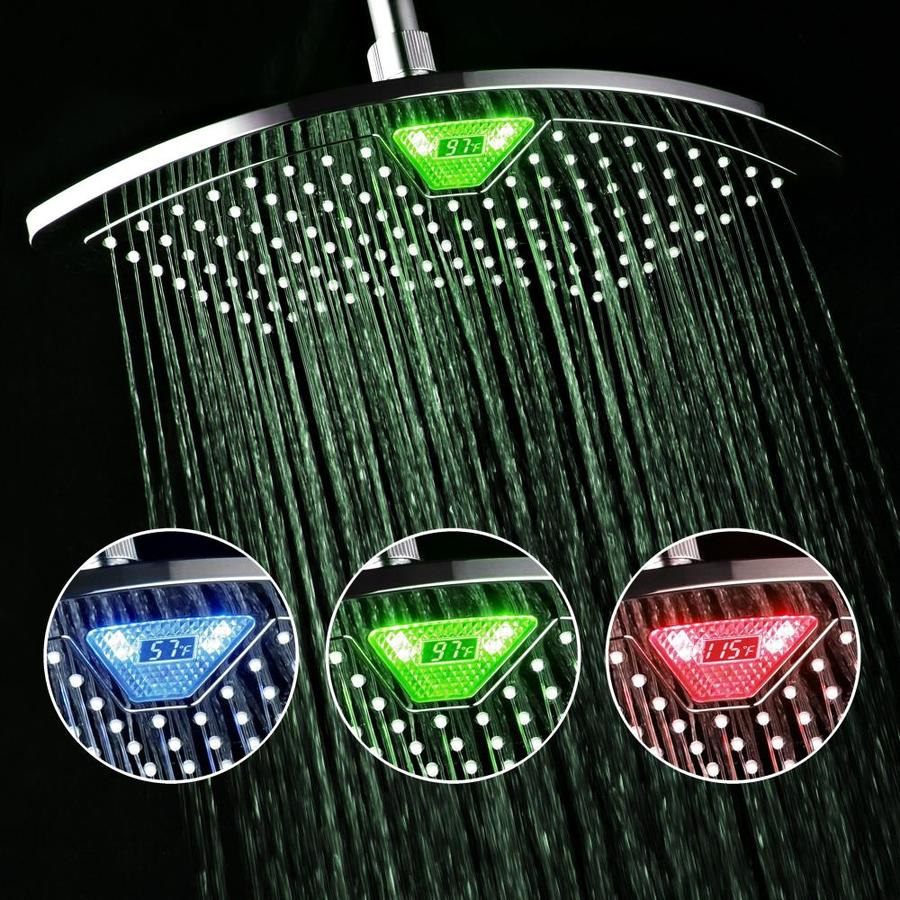 DreamSpa LED 12-in 2.5-GPM (9.5-LPM) Chrome 1-Spray Rain Showerhead