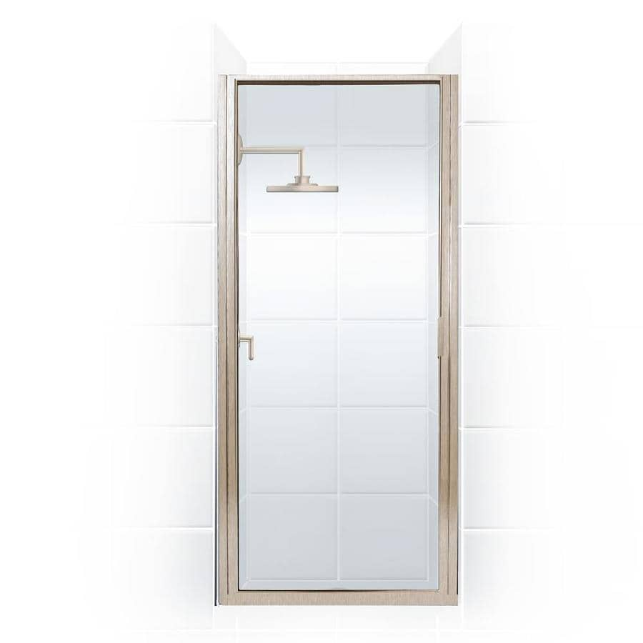 Coastal Shower Doors Paragon 65 In H X 32 In To 32 75 In W Framed Hinged Brushed Nickel Shower Door Clear Glass In The Shower Doors Department At Lowes Com