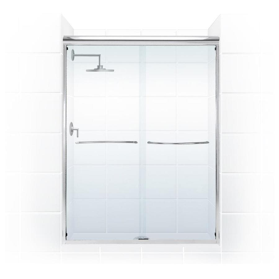 Coastal Shower Doors Paragon 69 In H X 60 In W Semi Frameless Sliding Brushed Nickel Shower Door Clear Glass In The Shower Doors Department At Lowes Com