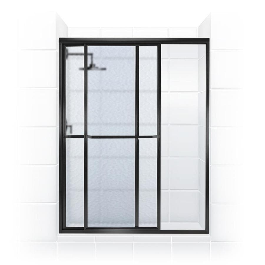 Coastal Shower Doors Paragon 66 3125 In H X 44 In To 45 5 In W Framed Bypass Sliding Matte Black Shower Door Frosted Glass In The Shower Doors Department At Lowes Com