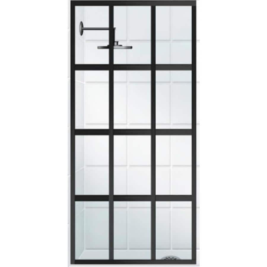 Coastal Shower Doors Gridscape Series 30.0-in to 30.0-in Framed Oil-Rubbed Bronze Fixed Shower Door