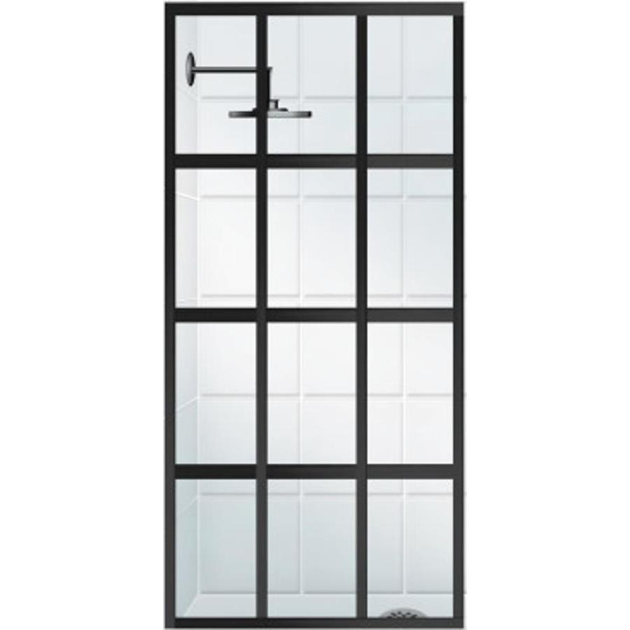 Coastal Shower Doors Gridscape Series 36-in to 36-in Framed Black Bronze Fixed Shower Door