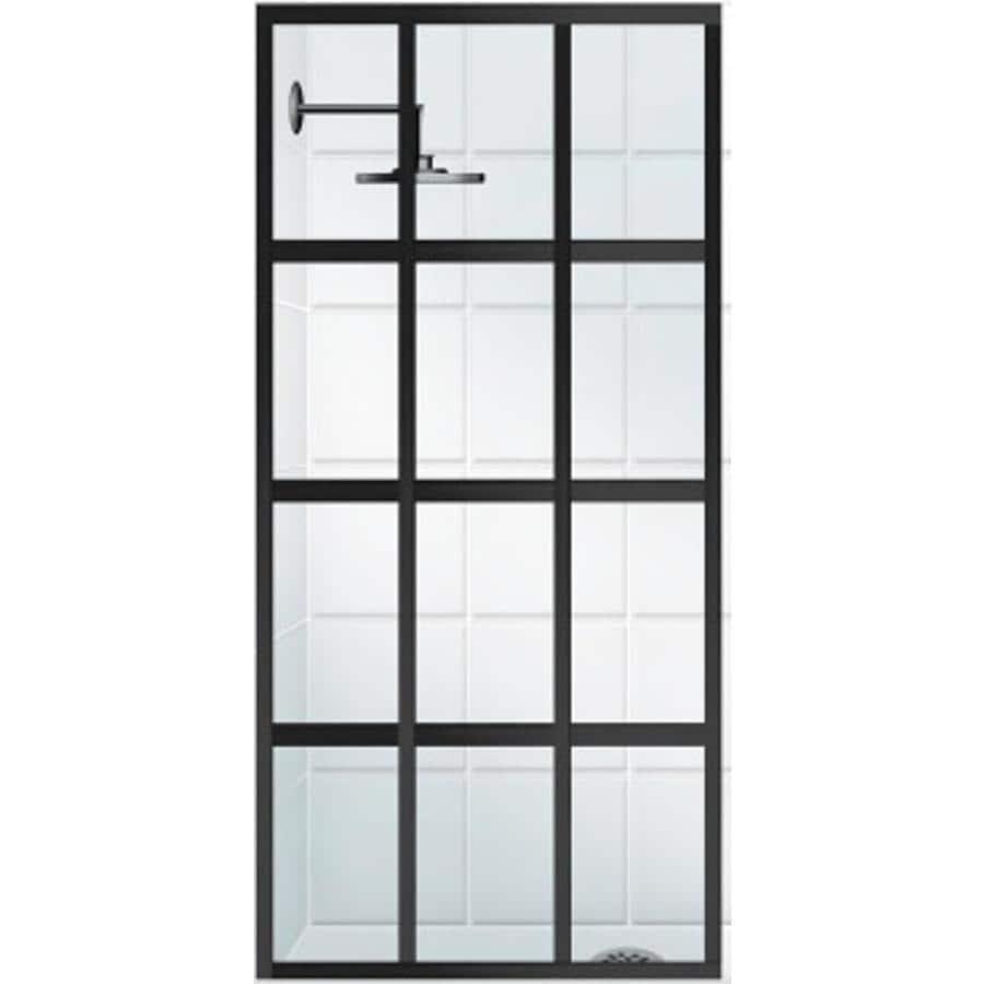 Coastal Shower Doors Gridscape Series 30-in to 30-in Framed Black Bronze Fixed Shower Door