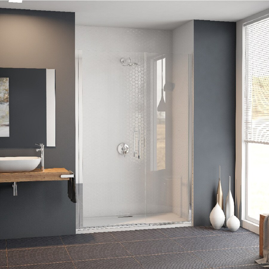 Coastal Shower Doors Illusion Series 60-in to 61.25-in Polished Chrome Frameless Hinged Shower Door
