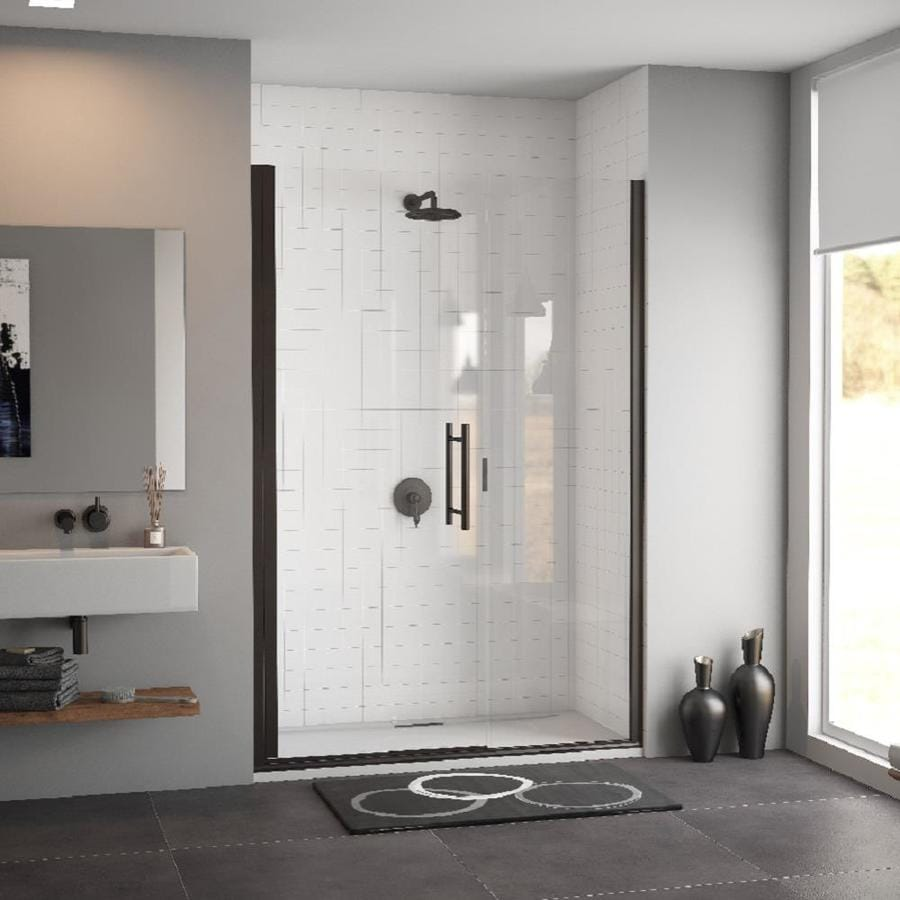 Coastal Shower Doors Illusion Series 43-in to 44.25-in Bronze Frameless Hinged Shower Door