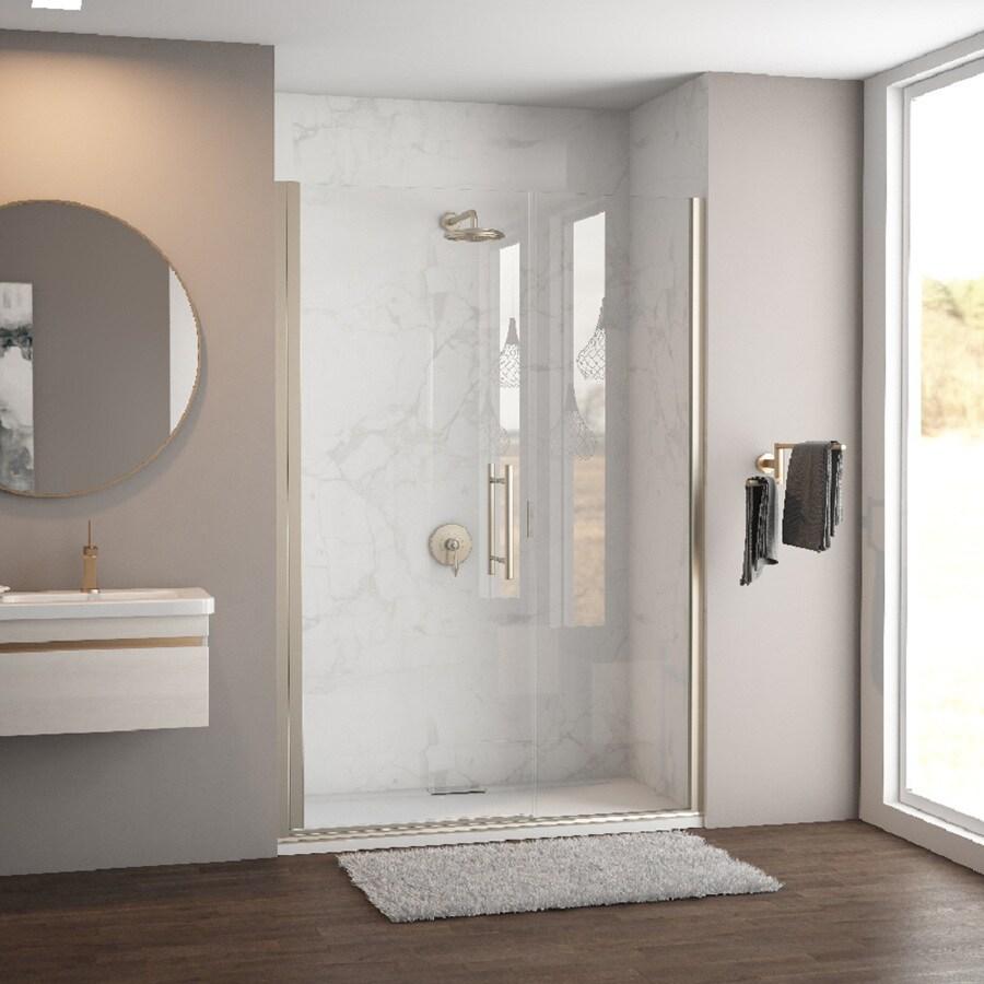 Coastal Shower Doors Illusion Series 50.0-in to 51.25-in Frameless Brushed Nickel Hinged Shower Door