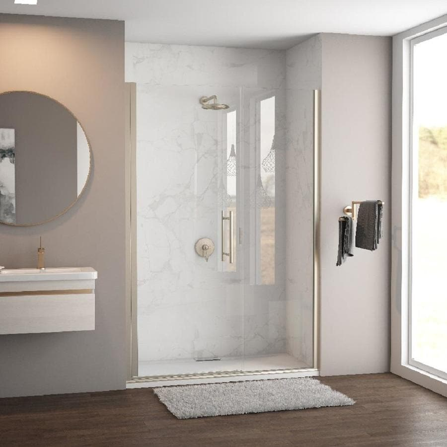 Coastal Shower Doors Illusion Series 63-in to 64.25-in Frameless Brushed Nickel Hinged Shower Door
