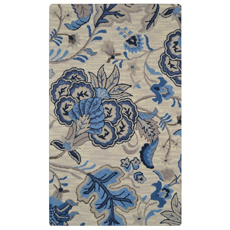 allen + roth Blue Rectangular Indoor Handcrafted Area Rug (Common: 6 x 9; Actual: 6-ft W x 9-ft L x 0-ft Dia)