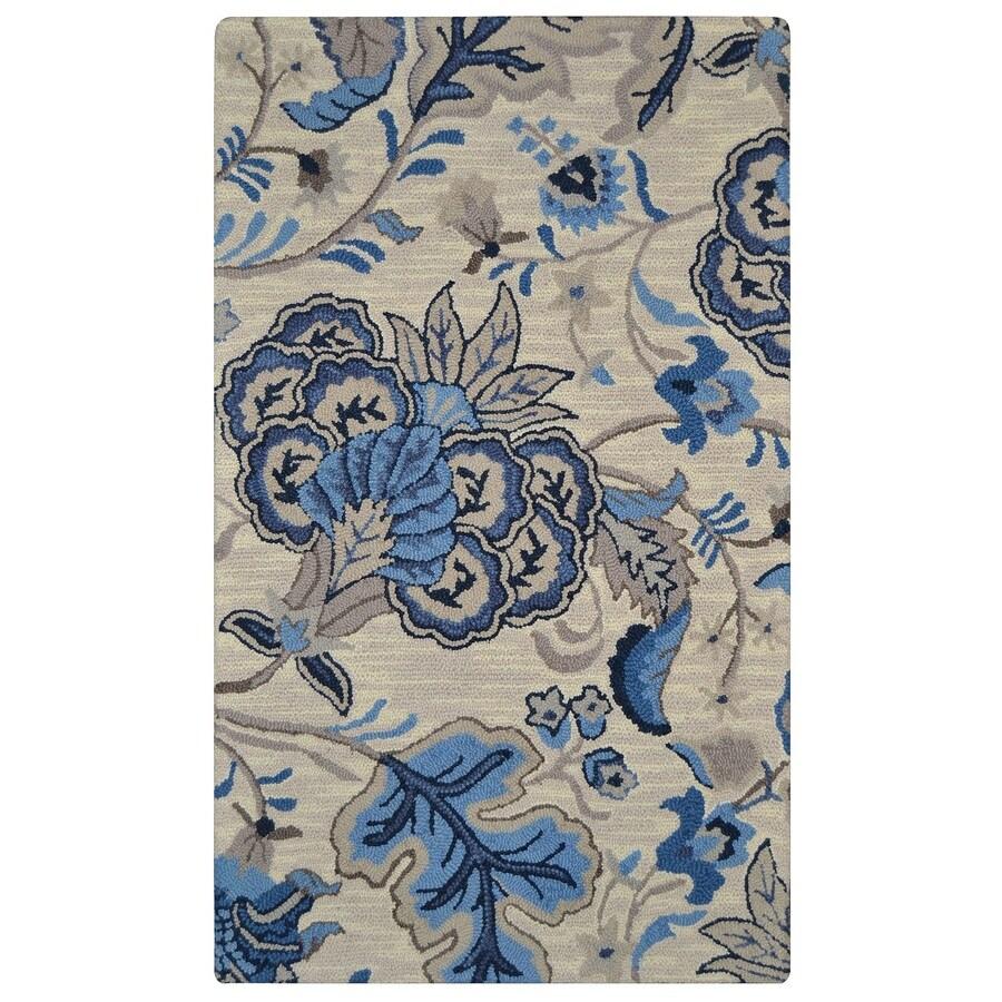 allen + roth Blue Rectangular Indoor Handcrafted Area Rug (Common: 8 x 10; Actual: 7.5-ft W x 9.5-ft L)