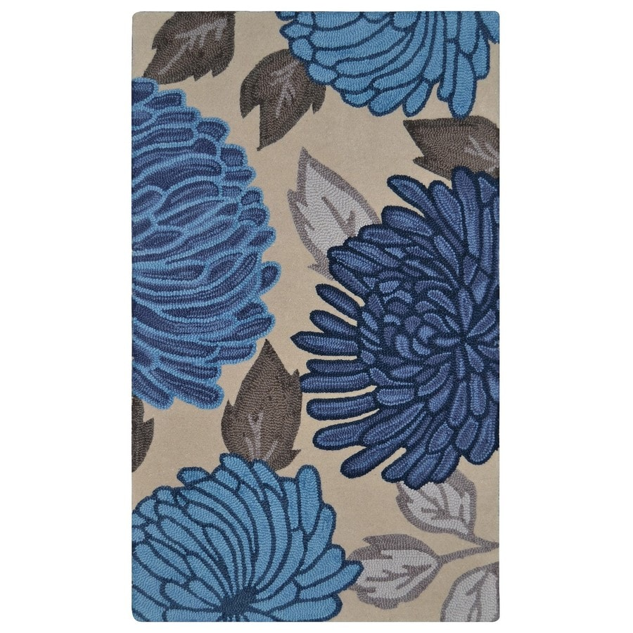 Shop allen + roth Blue Rectangular Indoor Handcrafted Area Rug ...