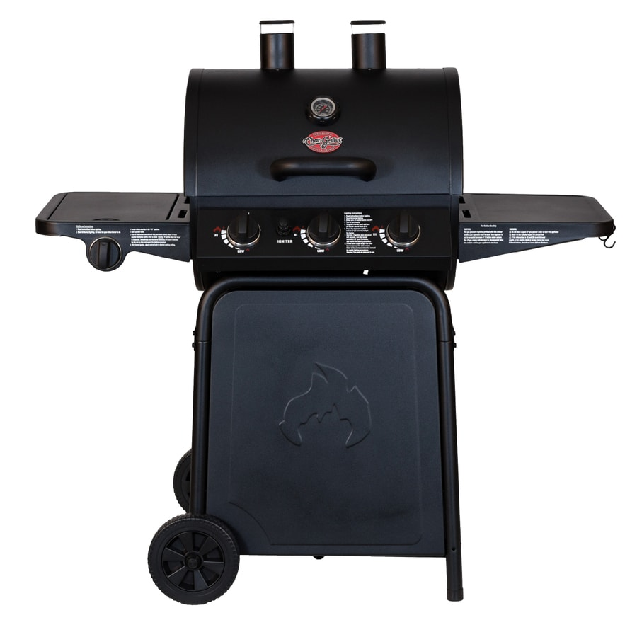 Char-Griller Grillin' Pro Black 3-Burner (40,800-BTU) Liquid Propane Gas Grill with Side Burner