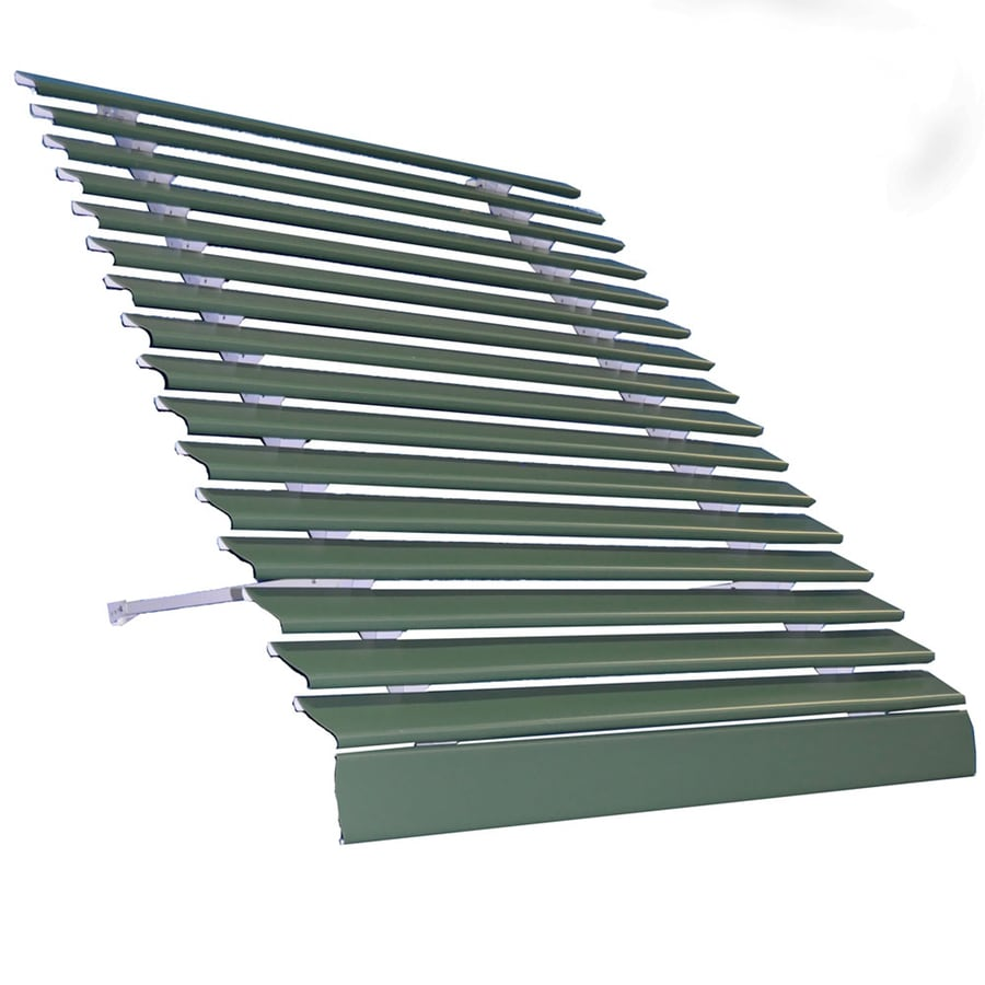 Americana Building Products 48-in Wide x 25-in Projection Hunter Green Solid Open Slope Low Eave Window Awning