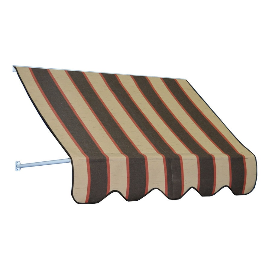 Americana Building Products 90-in Wide x 24-in Projection Bisque Brown Striped Open Slope Low Eave Window Retractable Manual Awning