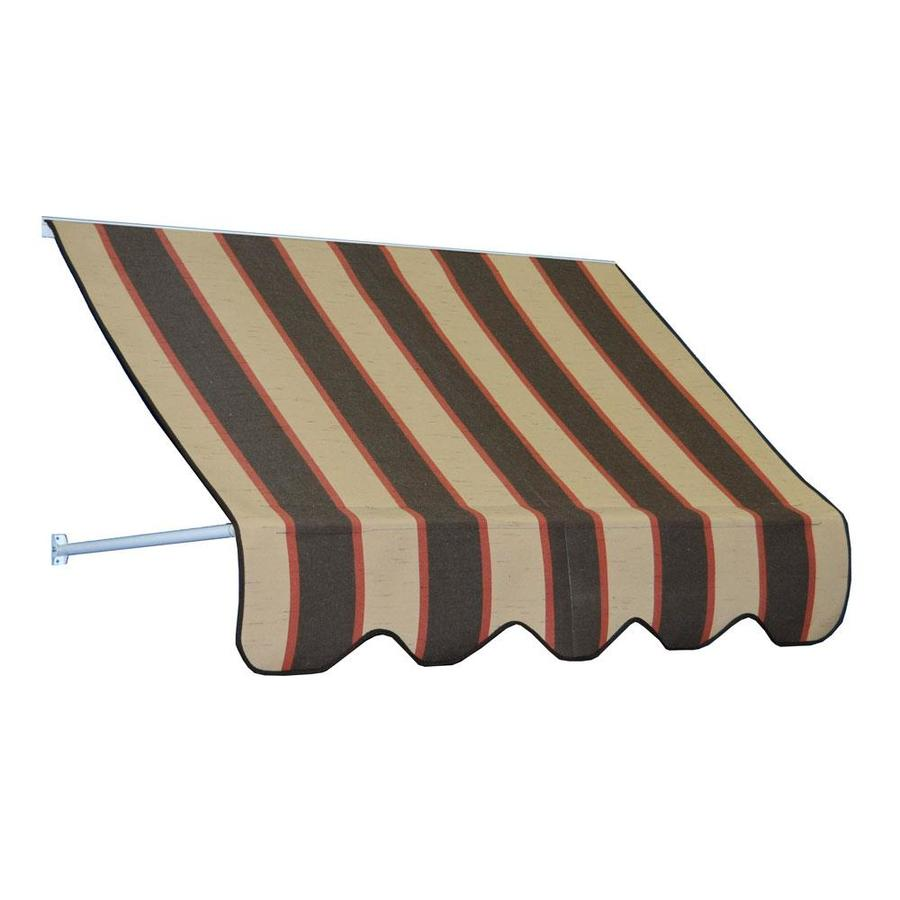 Americana Building Products 96-in Wide x 24-in Projection Bisque Brown Striped Open Slope Low Eave Window Retractable Manual Awning