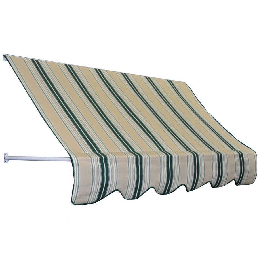 Americana Building Products 48-in Wide x 24-in Projection Green Beige Stripe Striped Open Slope Low Eave Window Retractable Manual Awning