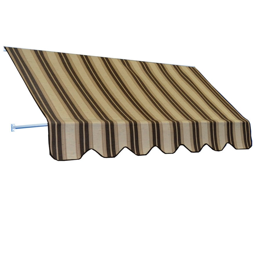 Americana Building Products 78-in Wide x 24-in Projection Chocolate Chip Fancy Striped Open Slope Low Eave Window Retractable Manual Awning